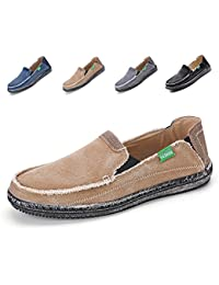 Men's Slip-On Loafers Flat Canvas Boat Shoes For Driving Walking Weeding Outdoor