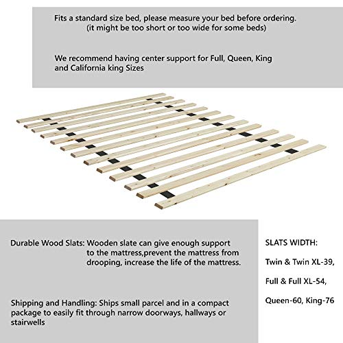Continental Sleep 1-Inch Standard Mattress Support Wooden Bunkie Board/Slats, Queen, Beige