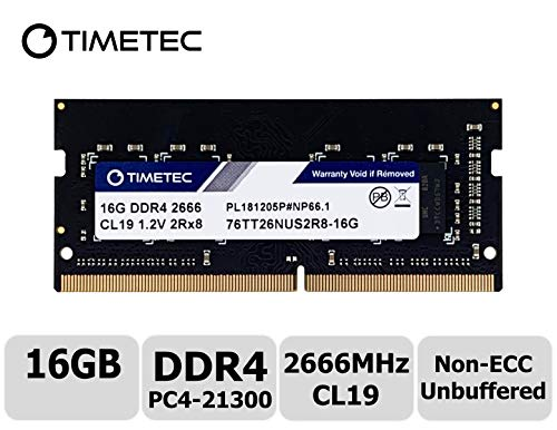 - Timetec Hynix IC 16GB DDR4 2666MHz PC4-21300 Unbuffered Non-ECC 1.2V CL19 2Rx8 Dual Rank 260 Pin SODIMM Laptop Notebook Computer Memory RAM Module Upgrade S Series (Not for iMac 2019) (16GB)