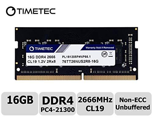 (Timetec Hynix IC 16GB DDR4 2666MHz PC4-21300 Unbuffered Non-ECC 1.2V CL19 2Rx8 Dual Rank 260 Pin SODIMM Laptop Notebook Computer Memory RAM Module Upgrade S Series (Not for iMac 2019) (16GB))