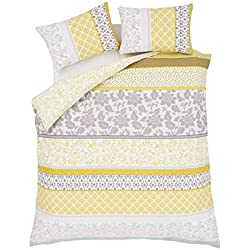 BANDED FLORAL BIRD YELLOW GREY COTTON BLEND USA TWIN (COMFORTER COVER 135 X 200 - UK SINGLE) (PLAIN SILVER GREY FITTED SHEET - 91 X 191CM + 25 - UK SINGLE) 3 PIECE BEDDING SET
