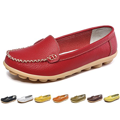 LINGTOM Women's Leather Loafers Slippers Casual Driving Flat Slip-on Moccasin Shoes for Women, Red (Ladies Leather Casual Shoes)
