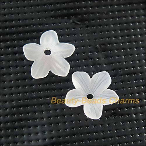 Calvas 150 New Charms Acrylic Plastic Star Flower Spacer End Bead Caps White 11mm