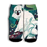 Mamie Jane White Monkey Wearing Glasses Tube Short Socks Funny Street Socks Cotton Crew Socks White