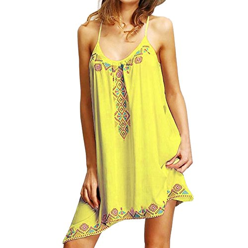 (New in Respctful ❈ Summer Beach Dress Boho Flora Print Mini Dress Sexy Sleeveless Casual Hem Top Party Cocktail Dress Yellow)
