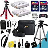 "Mega Pro 25 Piece Accessory Kit for Canon Powershot SX530 HS, SX520 HS, SX510 HS, SX710 HS, SX610 HS, SX700 HS, SX600 HS, SX500 IS, SX280 HS, SX260 HS, SX170 IS, SD1300 IS, SD1200 IS, SD980, SD770, SD1300, D30, D20, D10, IXUS 85 IS, IXUS 95 IS, IXUS 200 IS Digital Cameras Includes 32GB High Speed Memory Card + 1 High Capacity NB-6L / NB6LH Lithium-ion Battery with Quick AC/DC Charger + 60"" Inch Full Size Tripod + a Water Resistant Padded Case + Universal Card Reader + Flexible Mini Table Tripod + Memory Case Wallet Holder + Screen Protectors + Deluxe Cleaning Kit + Lens Cap Keeper + Ultra Fine HeroFiber Cleaning Cloth"