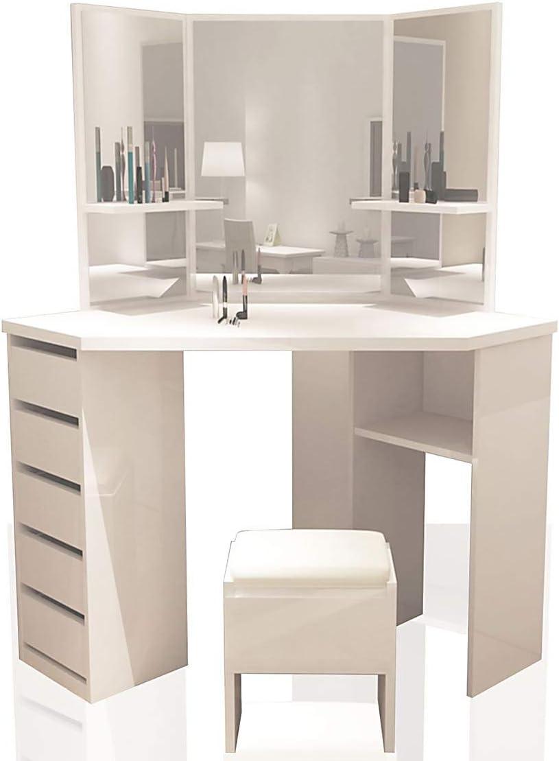 Blanc pour Chambre Salon Maison Meuble Yulie Grande Coiffeuse avec Miroir /à 3 Volets Table de Maquillage 5 tiroirs et 1 Tabouret