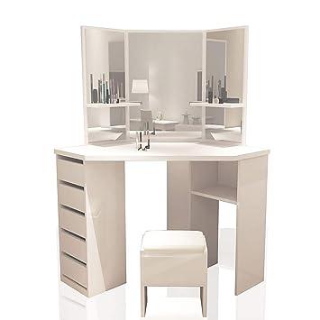 Soddyenergy Corner Dressing Table White   Makeup, Desk, Dresser, Mirror