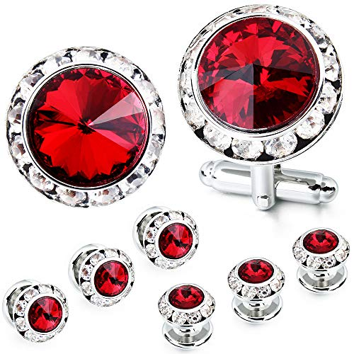 (AMITER Mulit-Colors Crystal Cuff Links and Studs Set for Mens Tuxedo Shrit Wedding Accessories)
