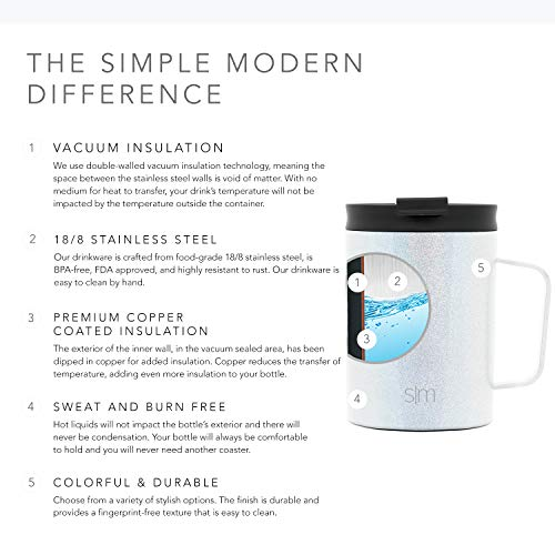 Simple Modern 12oz Scout Coffee Mug Tumbler - Travel Cup for Men & Women Vacuum Insulated Camping Tea Flask with Lid 18/8 Stainless Steel Hydro Shimmer: Selenite