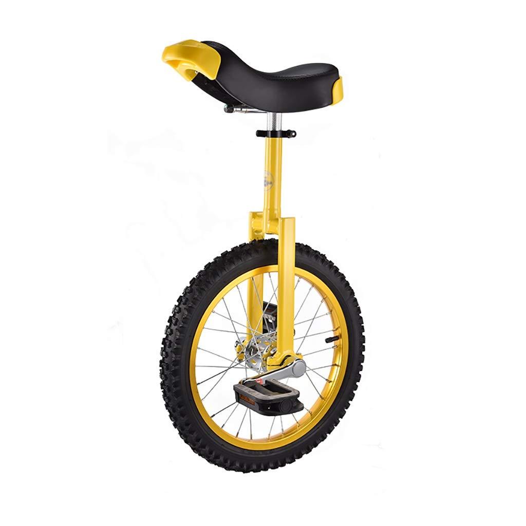 フリースタイル一輪車16/18インチシングルラウンド子供の大人の調節可能な高さバランスサイクリングエクササイズイエロー (サイズ さいず : 16 inch) 16 inch  B07PRXDYH9