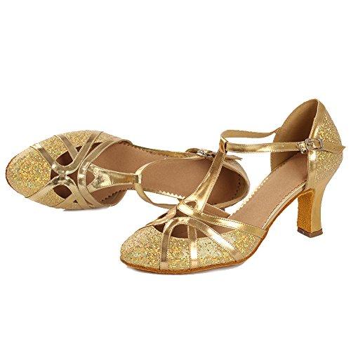 Modell Dance Ballsaal 7cm Schuhe Tanzschuhe Standard DC Damen 511 Gold SWDZM Absatz Latin Iq0YPw
