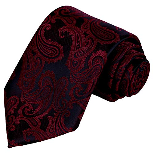 KissTies Mens Wine Red Tie Paisley Necktie Wedding Ties + Gift Box