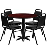 MFO 36'' Round Mahogany Laminate Table Set with 4 Black Trapezoidal Back Banquet Chairs