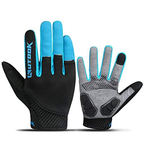 (Bicycle Gloves Men, Gel Padded Touch Screen Full Finger Winter Gloves Outdoor Blue Medium)