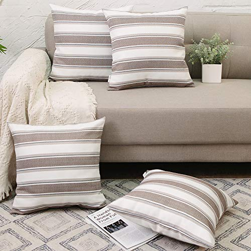 NATUS WEAVER Set of 4, Brown White Stripe Pillow Case Soft Linen Square Decorative Throw Cushion Cover Pillowcase with Invisible Zipper for Bench 18