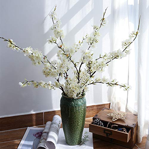 (YUYAO Artificial Cherry Blossom Flowers, 4pcs Peach Branches Silk Tall Fake Flower Arrangements for Home Wedding Decoration,41inch (White))