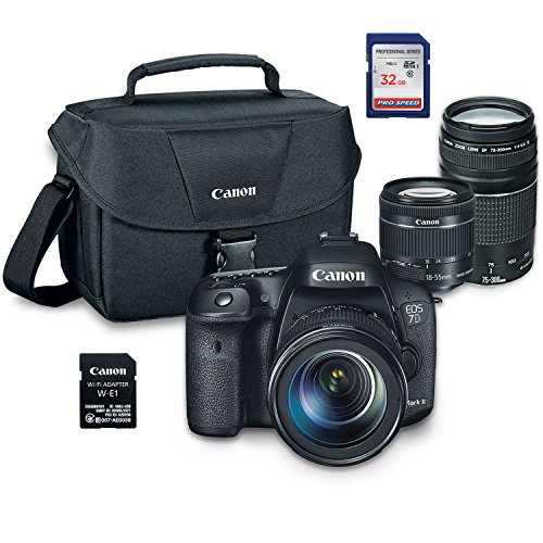 Canon EOS 7D Mark II Digital SLR Camera Wi-Fi Adapter Kit with EF-S 18-55mm STM + EF 75-300mm III + ES100 Case + 32GB Class 10 SD Card - International Version by Grace Photo