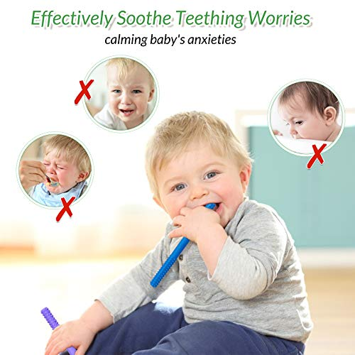 CAMTOA Hollow Teething Tubes, 5 Pack Soft Silicone Baby Soothing Teether Toy Chewy Tube Food Grade Safety Stick Teether Straws for Babies Boys & Girls with a Cleaning Brush (6.8inches)