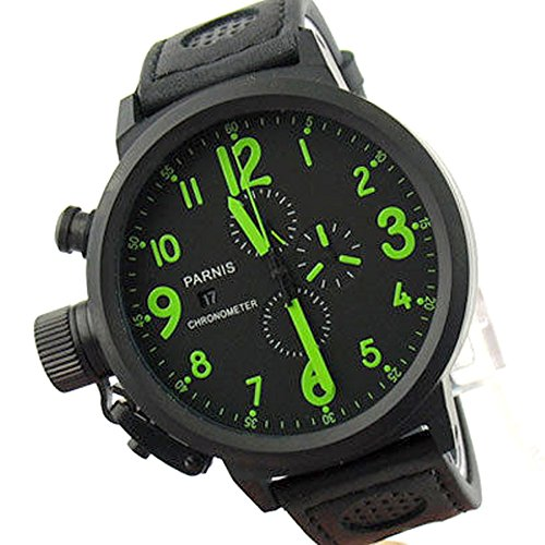 Whatswatch 50mm Parnis Black dial PVD case Full Chronograph Quartz Men's Watch PA-01122 Chronograph Full Pvd Case