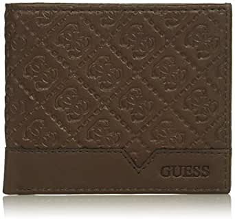 GUESS mens Leather Slim Bifold Wallet Wallet - brown - One Size