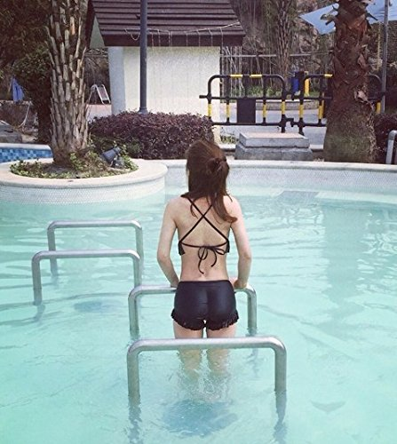 Traje de baño femenino superior retro Lomo de hongo negro borde pobreza atrás split bikini bañador femenino reunir y acero Negro con acero y