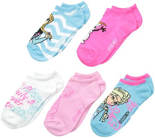 Disney Little Girls' Frozen 5 Pack Blue and White Ankle Socks
