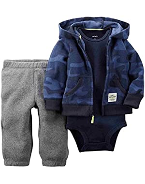 Carters Infant Boys 3 Piece Blue Camouflage Set Pants Onesie & Jacket (6M)