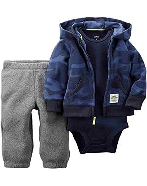 Carters Infant Boys 3 Piece Blue Camouflage Set Pants Onesie & Jacket (6M)