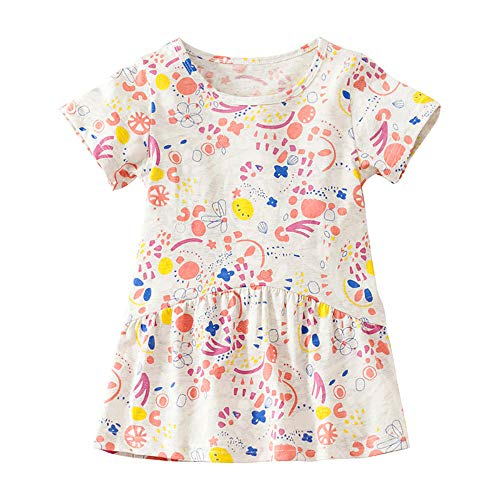 Little Girls Summer Casual Dress - Flower/Unicorn/Easter Bunny Toddler Cotton Outfit Size 7]()