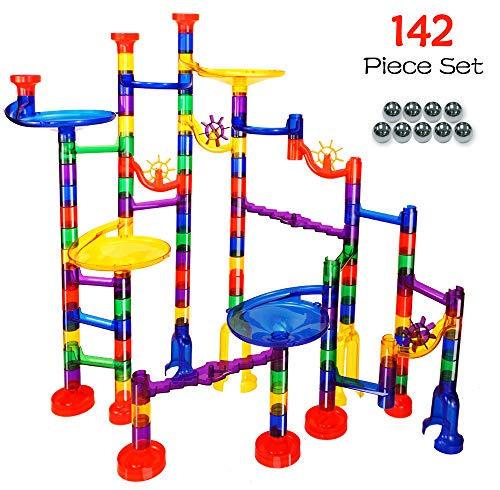 Marble Run Game Translucent Marble Maze STEM Educational Marble Race Track Building Construction Toys, Perfect for Boys and Girls Age 3 4 5 6 + Year Old - 102 Marbulous PCS + 40 Glass Marbles (Best Marble Run Game)