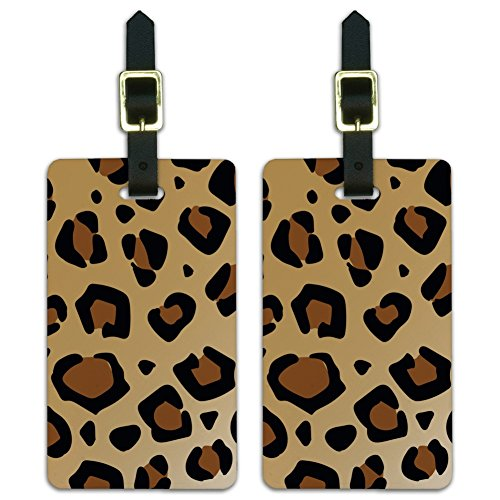 Leopard Print Animal Spots Luggage ID Tags Suitcase Carry-On Cards - Set of 2