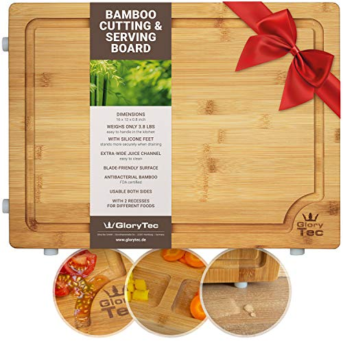 (EXTRA LARGE Bamboo Cutting Board for Kitchen - Wide Groove on one side reversible with 2 Compartments for different foods - (16