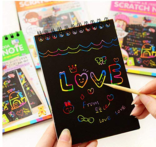 Scratch Art Rainbow Mini Notes with Wooden Stylus.aGreatLife Rainbow Scratch Art Notebooks: Best Scratch Rainbow Notes - Drawing Notepads for Kids with 3 Colorful Mini Notebooks and 3 Wooden Styluses
