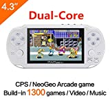 CZT Dual-core 64Bit Handheld Game Console 4.3'' Video Game Console Support Built-in 1300 CPS/NEOGEO/GBA/SFC/MD/FC/GBC/SMS/GG Games Mp5 Player (White)