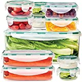 ACODINE 11 Food Storage Containers With Airtight Snap Lock Lids – Clear, BPA Free, Stacking, Reusable Leak Proof Lunchboxes - Freezer, Dishwasher, Microwave Safe – Bonus Draining Rack, 23 Piece Set