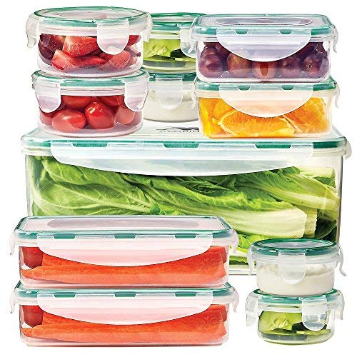 ACODINE 11 Food Storage Containers With Airtight Snap Lock Lids – Clear, BPA Free, Stacking, Reusable Leak Proof Lunchboxes - Freezer, Dishwasher, Microwave Safe – Bonus Draining Rack, 23 Piece Se