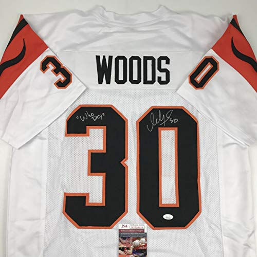 Autographed/Signed Ickey Woods Who Dey Cincinnati White Football Jersey JSA COA