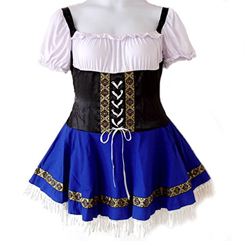 546 - Oktoberfest Beer Girl Serving Wench Halloween Costume Blue -