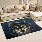 LORVIES Wolf Art Painting Area Rug Carpet Non-Slip Floor Mat Doormats for Living Room Bedroom 60 x 39 inches Review