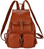 Coolcy Casual Women Real Genuine Leather Backpack New Vintage Style Travel Bag (Brown)