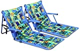 Leader Accessories 2-Pack Deluxe Portable Reclining Lounger Beach Chair Sporting Blue,W/ Armrest