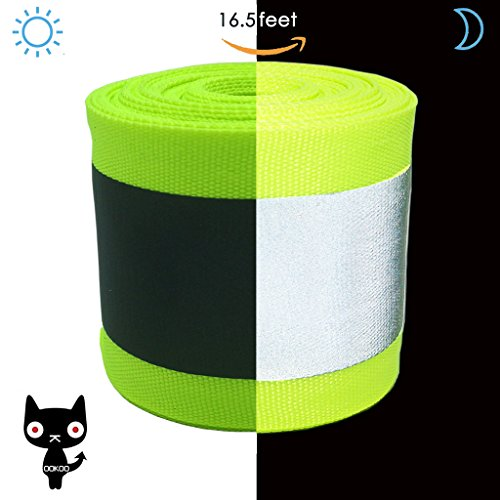 OOKOO Fabric Reflective Safety Tape Vest Trim Strip Sew on - 16.5 ft (5 Meter) - Larger Reflective Area - Green