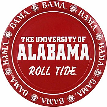 8-Count Paper Dinner Plates, Alabama Crimson (Alabama Football Party Supplies)
