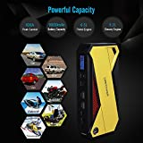 DBPOWER 600A Peak 18000mAh Portable Car Jump Starter (up to 6.5L Gas/5.2L Diesel Engine) Portable Battery Booster with Smart Charging Port, Compass, LCD Screen & LED Flashlight (Yellow)