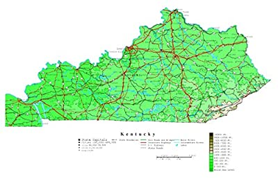 Home Comforts Large Detailed Elevation map of Kentucky State with Roads, Highways and Cities - Vivid Imagery