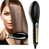 Professional Ceramic Hair Straightener Brush -Powerful Black Hair Straightener Brush For Straight, Silky, Smooth & Soft Detangled Hair Care – Anti-Scald & Anti-Static Technology For Safety Review