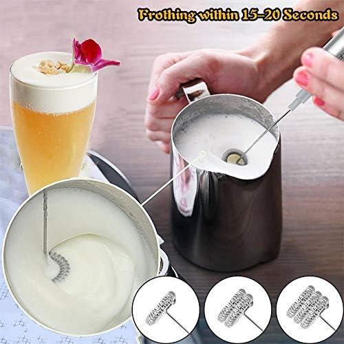 KUANDARMX Operazione Semplice Montalatte Elettrico, Frullino Elettrico Montalatte, Portatile Miscelatore Latte con 3 Testina del Frullino per Latte caffè Cappuccino Regalo