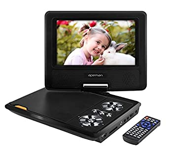 apeman 7 portable dvd player for kids and car swivel screen support sd card