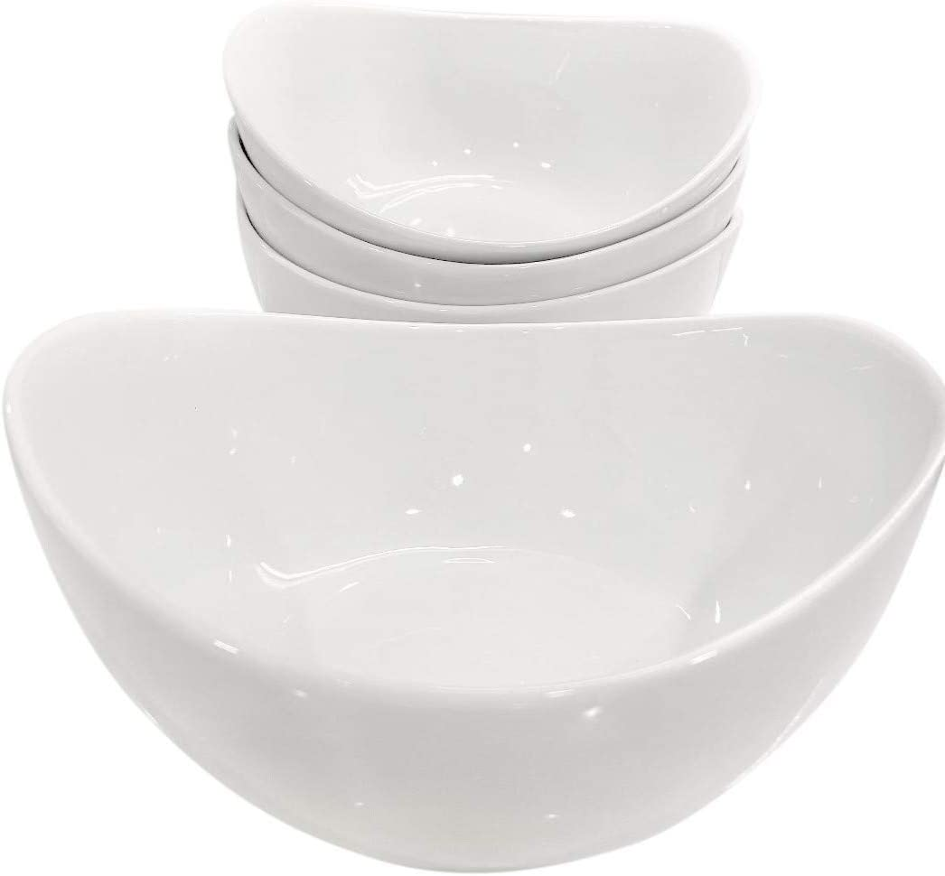 Partito Bella 48 Ounce Serving Bowls, Large Bowl Set of 4, Porcelain Cereal Bowls for Soup, Salad, and Cereal, White